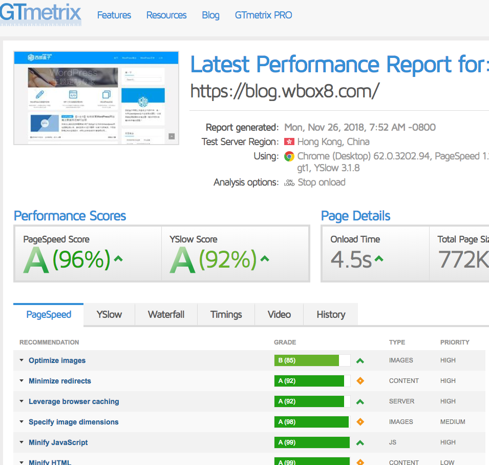 《网页前端性能测试工具网站速度测试工具GTmetrix全解析》